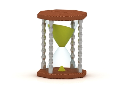 hourglass, sand clock 3d illustration isolated on the white background
