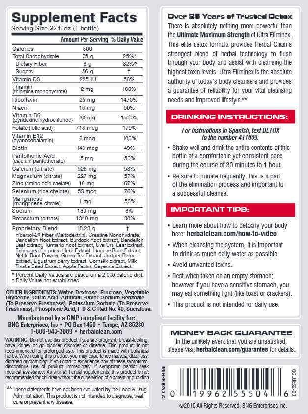 Herbal Clean Ultra Eliminex Ingredients