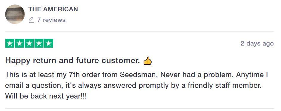 Seedsman Seeds customer feedback 5